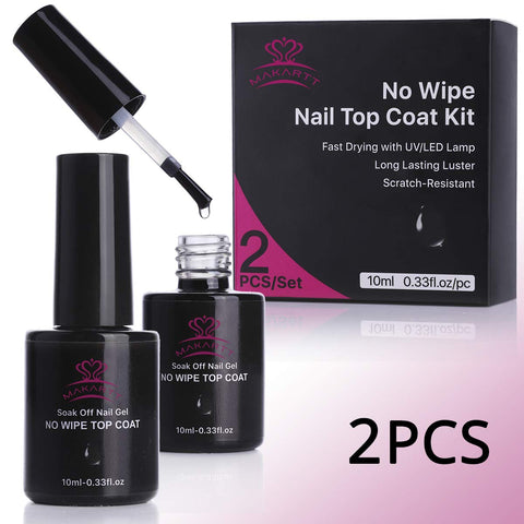 Makartt P-07 2 Bottles No Wipe Top Coat Nail Polish Kit LED UV Lamp Fast Curing Soak Off Top Gel 21 Days High-Gloss Wear P-07 Top Coat Gel Kit 2pcs