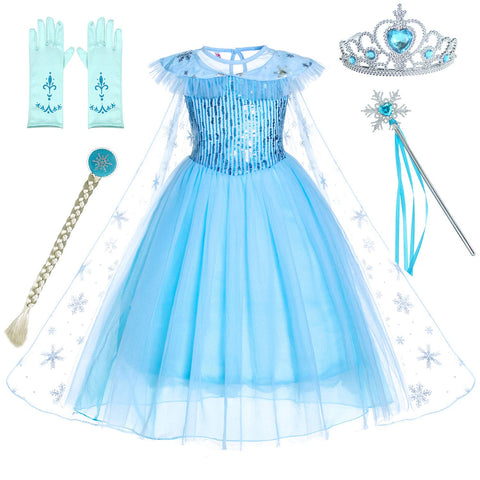 Snow Queen Princess Elsa Costumes Birthday Dress Up for Little Girls with Crown,Mace,Gloves Accessories 3-12 Years 4-5 Years Lb-56 With Accessories