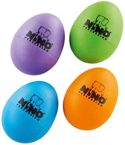 Nino Percussion Plastic Egg Shaker Set, 4 Pieces - For Classroom Music or Playing at Home, 2-YEAR WARRANTY (NINOSET540-2) Aubergine, Grass Green, Orange, Sky Blue
