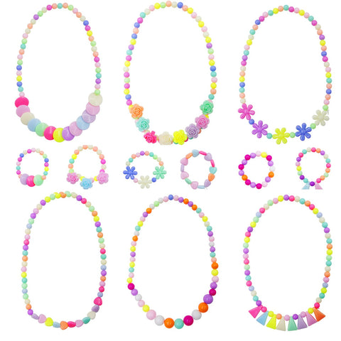 Granmp 6 Sets Princess Necklace Bracelet, Dress Up Jewelry for Little Girls Kids Necklace Little Girls Jewelry Toddler Jewelry Costume Play Necklace and Bracelet Set Party Favor