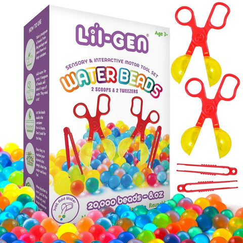 Li'l Gen Water Beads with Fine Motor Skills Toy Set, Non-Toxic Water Sensory Toy for Kids - 20,000 Beads with 2 Scoops and Tweezers for Early Skill Development Water Beads Set
