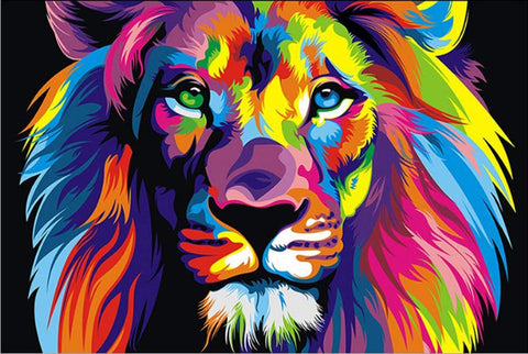 iFymei Paint By Number Kits Paintworks Acrylic DIY Oil Painting for Kids and Adults Beginner Animals Canvas ( Color Lion )
