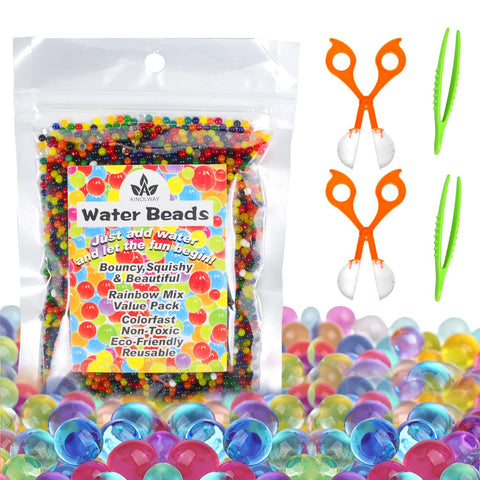 AINOLWAY Water Beads with Fine Motor Skills Toy Set, Non-Toxic Water Sensory Toy for Kids - 10,000 Beads with 2 Scoops and Tweezers for Early Skill Development (Water Beads Set) Water Beads Set