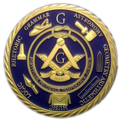 1 OZ Freemason Coins 24K Gold Coated by AtSKnSK Challenge Coins for Masonic Masonic Challenge Coins