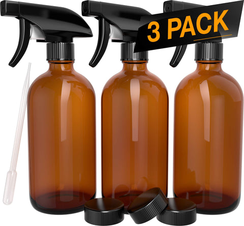 Nylea 3 Pack Refillable 16 oz Empty Amber Glass Spray Bottles [Free Phenolic Cap and Pipette] Great for Cleaning Solutions, Hair, Essential Oils, Plants - Trigger Sprayer with...