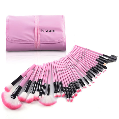 Makeup Brushes, VANDER 32pcs Professional Soft Synthetic Kabuki Cosmetic Eyebrow Shadow Makeup Brush Set Kit 32pcs Black Makeup brushes