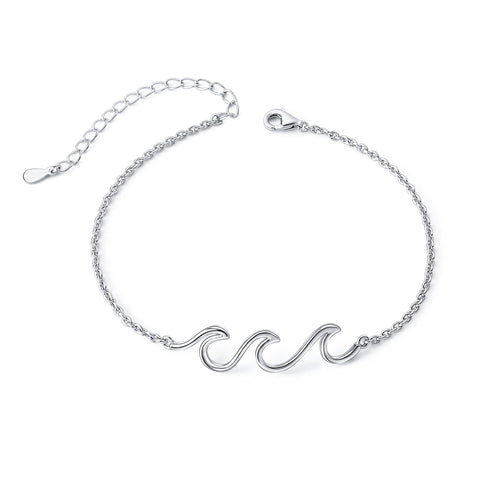 Wave Ocean Beach Sea Anklet for Women S925 Sterling Silver Adjustable Ankle Foot Bracelet Anklet 9+1 Inches