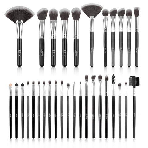 Makeup Brush Set, SOLVE 32 Pieces Professional Makeup Brushes Wooden Handle Cosmetics Brushes Foundation Concealer Powder Face Eye Make up Brushes Kit, Black
