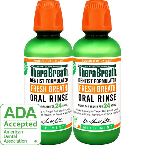 TheraBreath Fresh Breath Oral Rinse, Mild Mint, 16 Ounce Bottle (Pack of 2) 16 Fl Oz (Pack of 2)