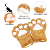 Cat Cosplay Costume Kitten Tail Ears Collar Paws Gloves Anime Lolita Gothic Set Brown