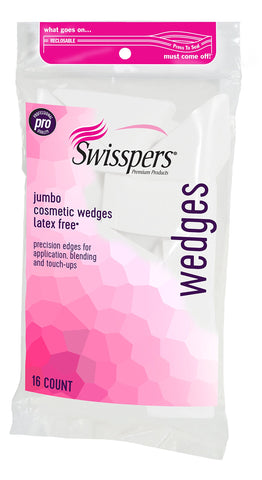 Swisspers Premium Pro Cosmetic Wedges, Latex-Free Makeup Wedge, Jumbo Size, 16 Count Bag Wedge -16 Count Bag