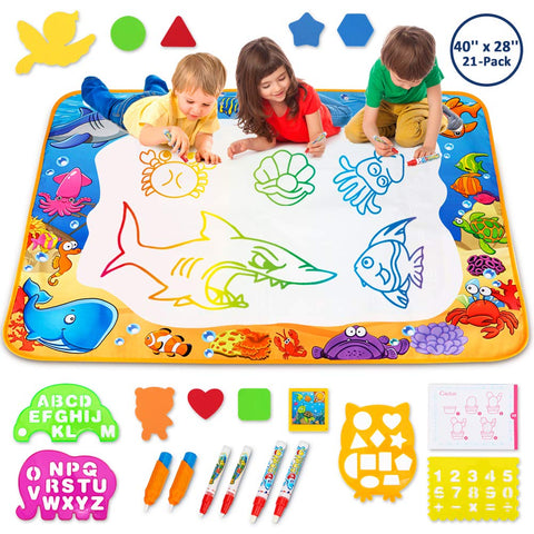 Toyk Aqua Magic Mat - Kids Painting Writing Doodle Board Toy - Color Doodle Drawing Mat Bring Magic Pens Educational Toys for Age 1 2 3 4 5 6 7 8 9 10 11 12 Year Old Girls Boys Age Toddler Gift Red