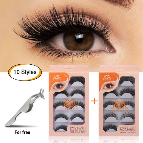MAGEFY 10 Pairs Fake Eyelashes Reusable 3D Handmade False Eyelashes Set for Natural Look with False Lashes Applicator-10 Styles Black-2