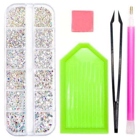 Crystals Glass AB Nail Art Rhinestones, SS4-SS12 Charms Gems Nails Diamonds Stone, 1.5mm-3.5mm Flat Back Round Beads With Storage Organizer Box/Picker Pencil/Glue for Crafts Face Art Clothes Shoes