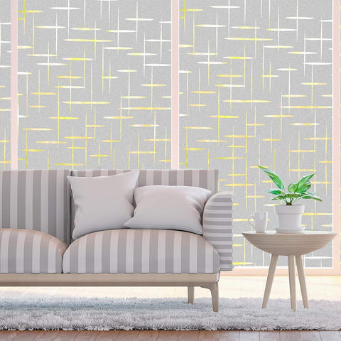 Finnez Window Film for Privacy and Light Protection | Vinyl Sticker Film Creates a Frosted Glass Look |Static Cling | Perfect for Home and Office (17.7'' x 78.7'', Cross Pattern) 17.7'' x 78.7''