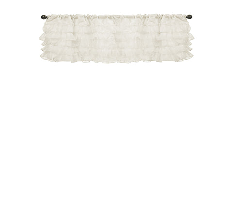 Baby Doll Bedding Layered Window Valance, Ivory