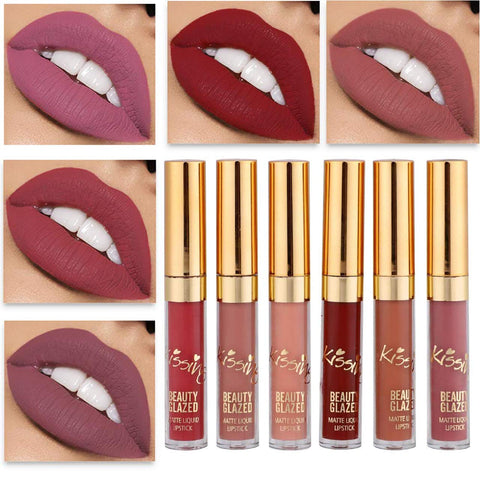 Beauty Glazed Lipstick Nude 6PCS Matte Liquid Lip Gloss Moisturizing Waterproof Lips Makeup set Durable Lipgloss Mini Birthday Edition Long Wearing Matte Lipstick Set matte lipgloss set