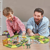 AUUGUU Dinosaur Race Car Track Train Toys, Perfect Birthday for 3 4 5 6 7 Year Old Boys Kids, Dinosaur World Playset with 142 Pieces Tracks, 2 Dinosaurs and 2 Vehicle