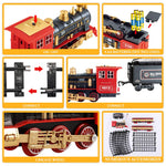 TEMI Electronic Classic Railway Train Sets w/ Steam Locomotive Engine, Cargo Car and Tracks, Battery Operated Play Set Toy w/ Smoke, Light & Sounds, Perfect for Kids, Boys & Girls, Red