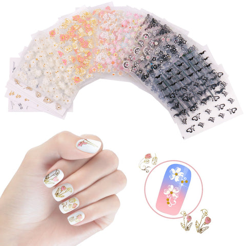 NiceDeco 50 Sheets 3D Design Self-adhesive Tip Nail Stickers Nail Art Tattoo Nail Decals DIY Nail Art Decoration Flower/Butterfly/Fishes/Stars/Cat/Halloween Skull/Moustache/Lace