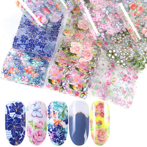 Nail Foil Wraps Stickers Nail Foil Transfer Nail Decals for Women 10 Sheets Colorful Flower Tattoos Design Nail Art Stickers Manicure Acrylic DIY Nail Art Decoration (7.8 x 1.6 inch)