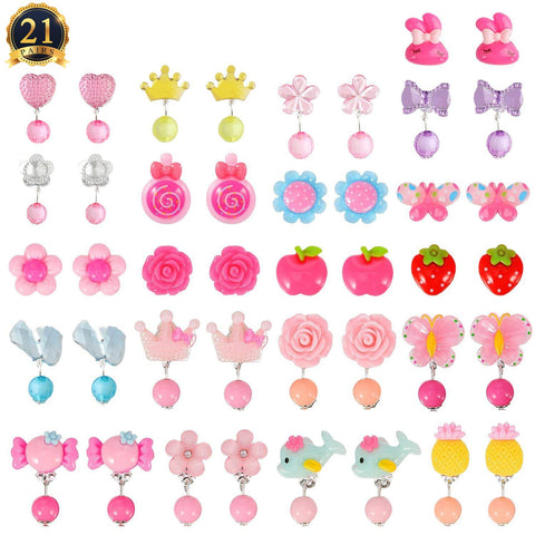 HaiMay 21 Pairs Clip-on Earrings Girls Play Earrings for Party Favor, All Packed in 3 Clear Boxes