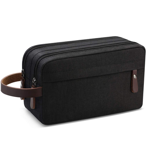 Men's Travel Toiletry Organizer Bag Water-resistant Shaving Dopp Kit Bathroom Bag (Black Water-resistant) Black Water-resistant