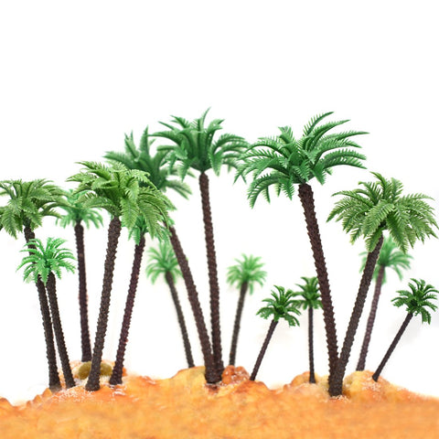 "HUIANER 15Pcs Model Trees Palm Tree, 2.8"" - 6.3"" Mixed 5 Size Fake Plastic Trees with No Stands for DIY Scenery Landscape Cake Decoration"