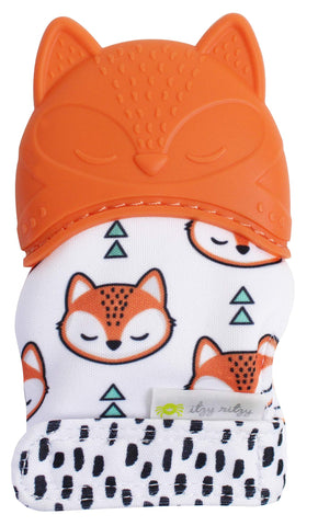 Itzy Ritzy Silicone Teething Mitt – Soothing Infant Teething Mitten with Adjustable Strap, Crinkle Sound and Textured Silicone to Soothe Sore and Swollen Gums, Fox