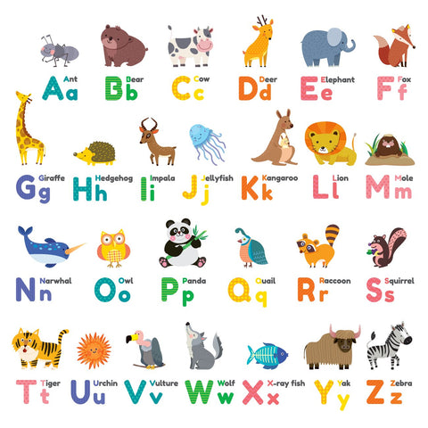 Decowall DW-1614 Colourful Animal Alphabet ABC Kids Wall Decals Wall Stickers Peel and Stick Removable Wall Stickers for Kids Nursery Bedroom Living Room Medium_1614