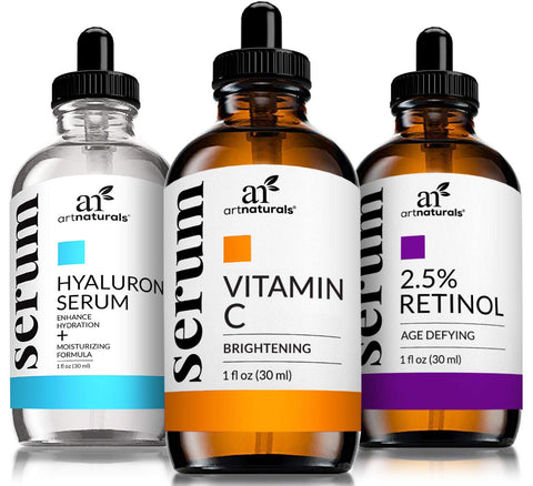 ArtNaturals Anti-Aging-Set with Vitamin-C Retinol and Hyaluronic-Acid - (3 x 1 oz) Serum for Anti Wrinkle and Dark Circle Remover – All Natural and Moisturizing 3 Piece Gift Set