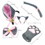 Cat Cosplay Costume Kitten Tail Ears Collar Paws Gloves Anime Lolita Gothic Set Grey