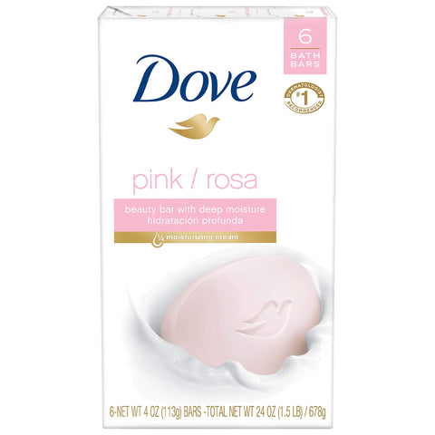 Dove Beauty Bar, Pink, 4 oz, 6 Bar ( packaging may vary ) pack of 1(6 in a pack) White