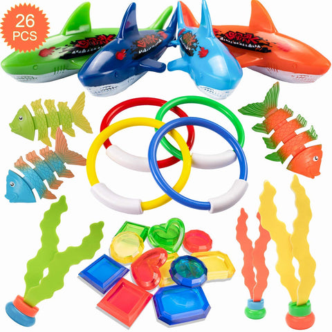 HENMI 26 Pack Diving Toy for Pool Use Underwater Swimming/Diving Pool Toy Rings, Toypedo Bandits,Stringy Octopus and Diving Fish with Under Water Treasures Gift Set Bundle,Ages 3 and Up Multicoloured