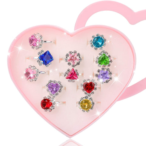 Hifot 12 pcs Girls Crystal Adjustable Rings, Princess Jewelry Finger Rings with Heart Shape Box, Girl Pretend Play and Dress up Rings for Children Kids Little Girls - Random