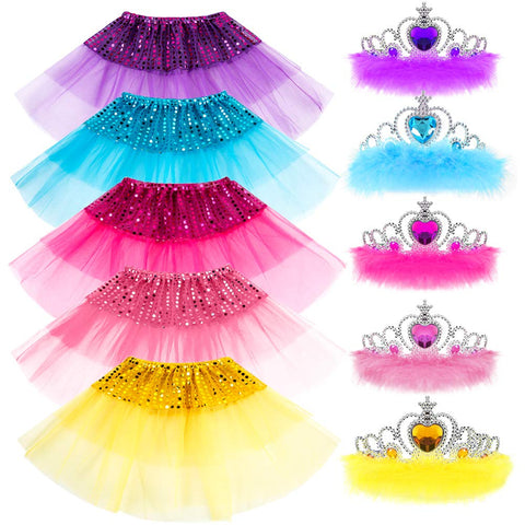Princess Dress up Accessories Girl Gift Set Crown Dress Tiara Belle Elsa Party Favors Costume for Girls 5 Color