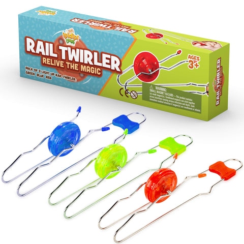 Retro Magic Rail Twirler - 3 Pack | Light Up Magnetic Toy For Kids Boys Girls - Fun Sensory Toy With Spinning Wheel and Flashing LEDs | Rail Twister Vintage Fidget Toy for Adults & Children | 3 Colors