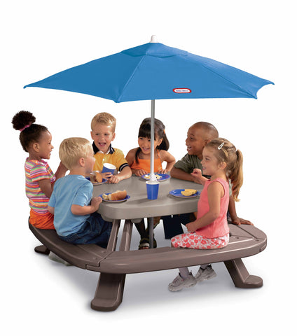 Little Tikes Fold 'n Store Picnic Table with Market Umbrella Brown