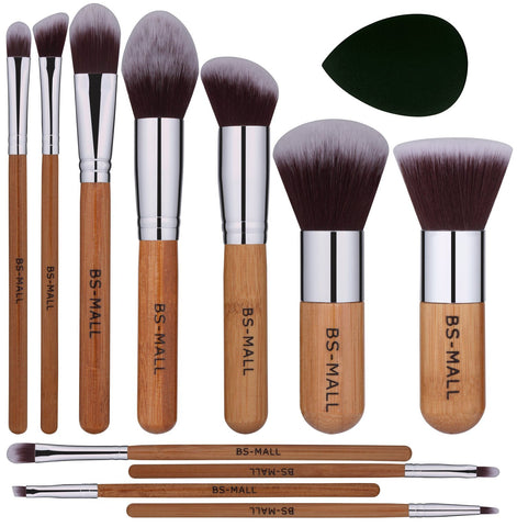 BS-MALL Makeup Brush Set 11Pcs Premium Synthetic Kabuki Brush Set Foundation Powder Blending Concealer Eye shadows Blush Cosmetics Brushes with Organizer Bag & Makeup Sponge
