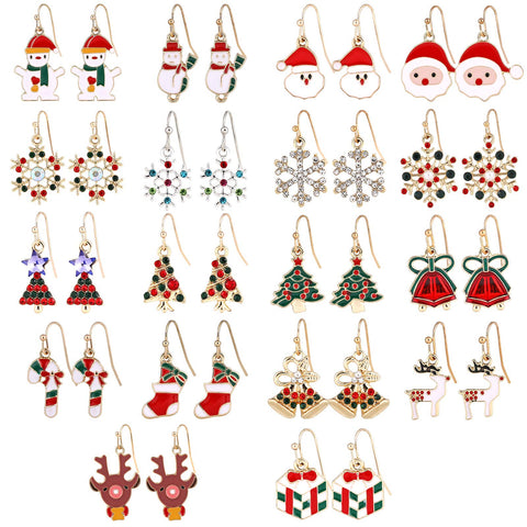 MTSCE 2-20 Pairs Women Christmas Earring Stud Set, Cute Festive Jewelry Hypoallergenic Christmas Gifts for Kids Teens Girls D Style 18 Pairs