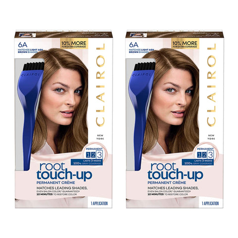 Clairol Nice 'N Easy Permanent Hair Color Root Touch-Up Kit, 6A Matches Light Ash Brown Shades (Pack of 2) (Packaging May Vary)