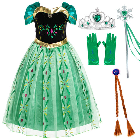 Snow Queen Princess Elsa Costumes Birthday Dress Up for Little Girls with Crown,Mace,Gloves Accessories 3-12 Years 2-3 Years Green-88 With Accessories