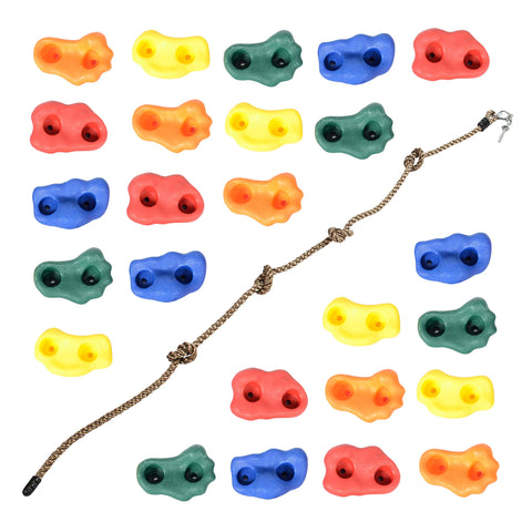 Milliard DIY Rock Climbing Holds Set with 8 Foot Knotted Rope (25 Pc. Kit) Fun, Assorted Kid Friendly Foot and Hand Grip Steps Indoor and Outdoor Play Set Use,Includes Mounting Screws and Hooks.