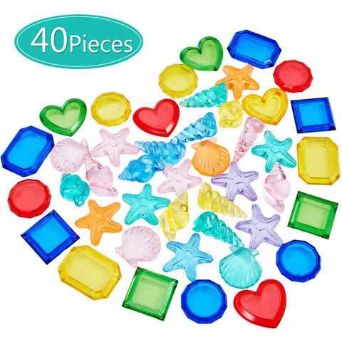 40 Pieces Sinking Dive Gem Pool Toy Set Summer Swimming Diving Toy Set Dive Throw Toy Set Underwater Swimming Toy Plastic Gem Dive Toys for Pool Use , Random Colors and Shapes