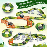 Dinosaur Toys-273pcs Create A Dinosaur World Road Race-Flexible Track Playset and 2 pcs Cool Dinosaur car for 3 4 5 6 Year & Up Old boy Girls Best Gift Green