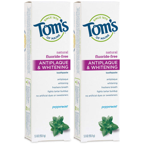 Tom's of Maine Fluoride-Free Antiplaque & Whitening Toothpaste, Whitening Toothpaste, Natural Toothpaste, Peppermint, 5.5 Ounce, 2-Pack 5.5 Ounce, 2 Pack