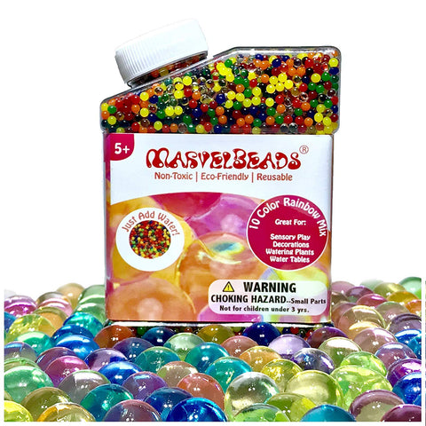 MarvelBeads Water Beads [Non-Toxic & Eco-Friendly] Rainbow Mix for Kids Sensory Play and Spa Refill (Over Half Pound)