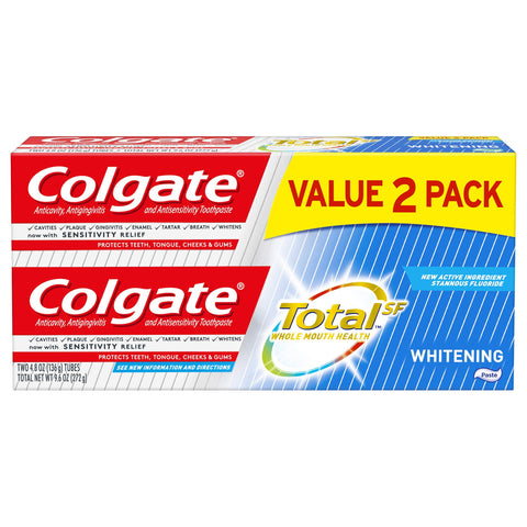 Colgate Total Whitening Toothpaste - 4.8 ounce (2 Pack) 2 Pack Whitening Toothpaste 4.8 Ounce (Pack of 2)