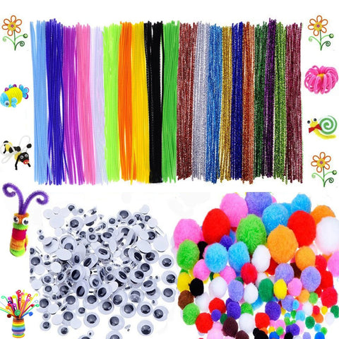 600 Pcs Craft Supplies Set - Pipe Cleaners Set Which Includes 200Pcs Chenille Stems, 150Pcs Self-sticking Wiggle Googly Eyes and 250Pcs Pompoms for DIY School Art Projects by BellaBetty