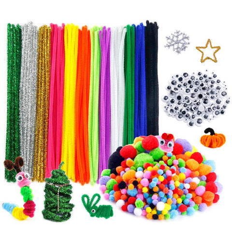 Caydo 600 Pieces Pipe Cleaners Pompoms Set, Including 120 Pieces 12 Colors Pipe Cleaners, 360 Pieces 6 Size Pom Poms and 120 Pieces 4 Size Wiggle Googlys Eyes for Craft DIY Art Supplies